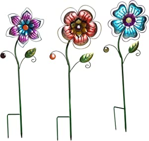 Garden Stake Outdoor Plant Pick Cute Metal Flower Stick Art Ornament Decor Lawn Yard Patio,3 Set