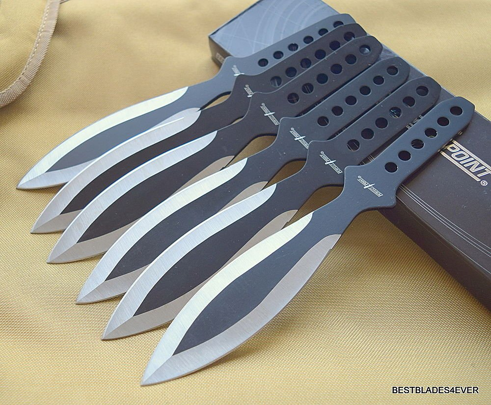 9'' OVERALL PERFECT POINT TWO TONE THROWING KNIVES W/NYLON SHEATH - 6 PCS SET + free eBook by ProTactical'US