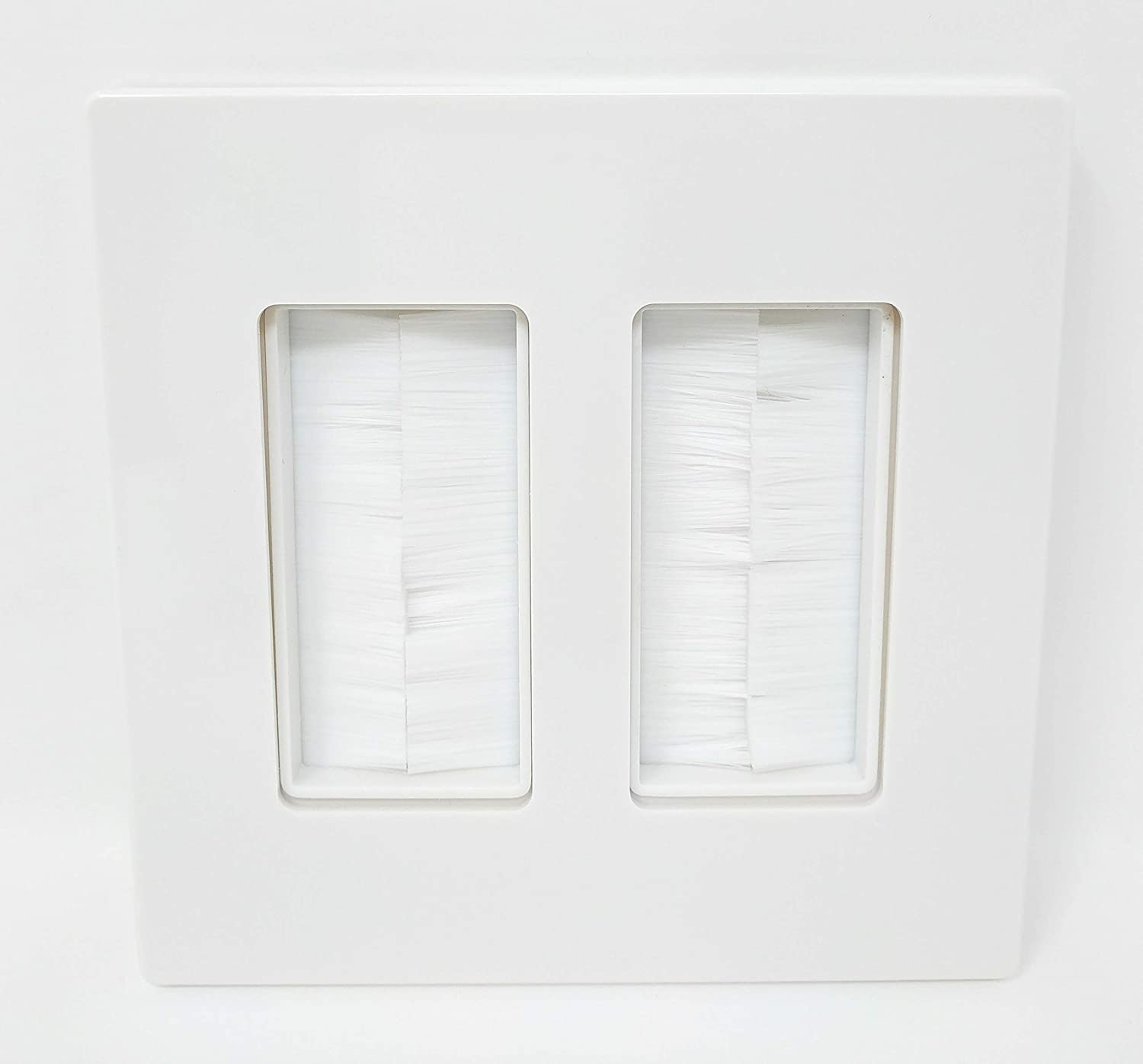 Now Fits Larger Cables Ivory Single Gang Wall Plate with Brush Bristles RiteAV