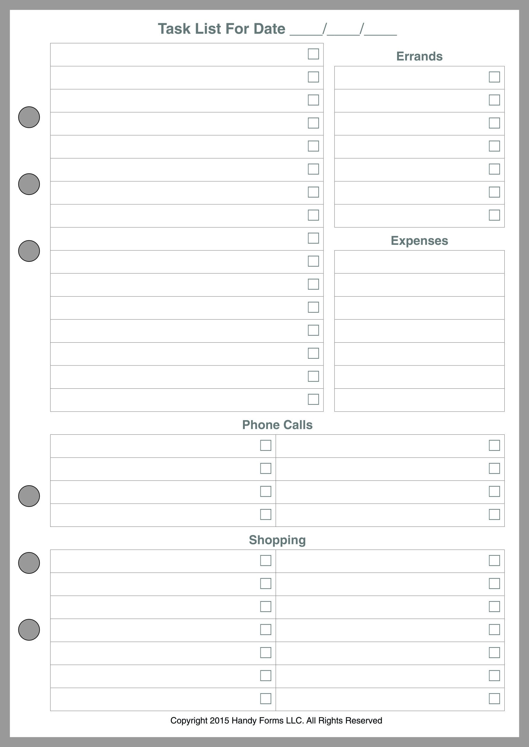 A5 Size Daily Task Planner Insert, Sized and Punched for 6-Ring A5 Notebooks by Filofax, Mulberry, Kikki K, TMI, and others. Sheet Size 5.83'' x 8.27'' (148mm x 210mm)