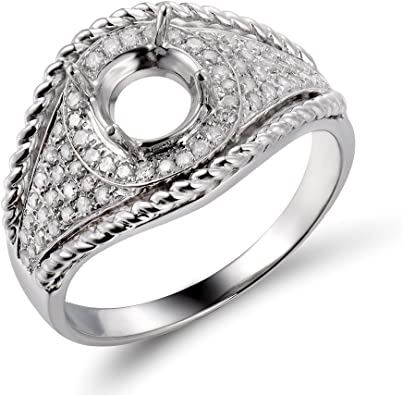 10K White Gold Round 7-9mm Semi Mount Natural Diamonds Engagement Wedding Ring