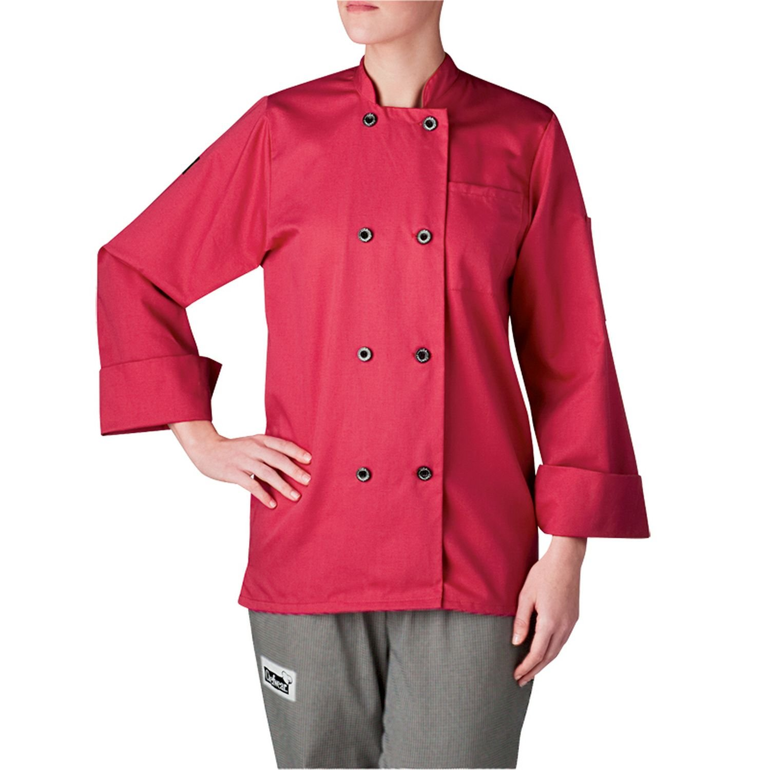 Chefwear Women's Long Sleeve Primary Plastic Button Chef Jacket Hot Pink 3XL by Chefwear