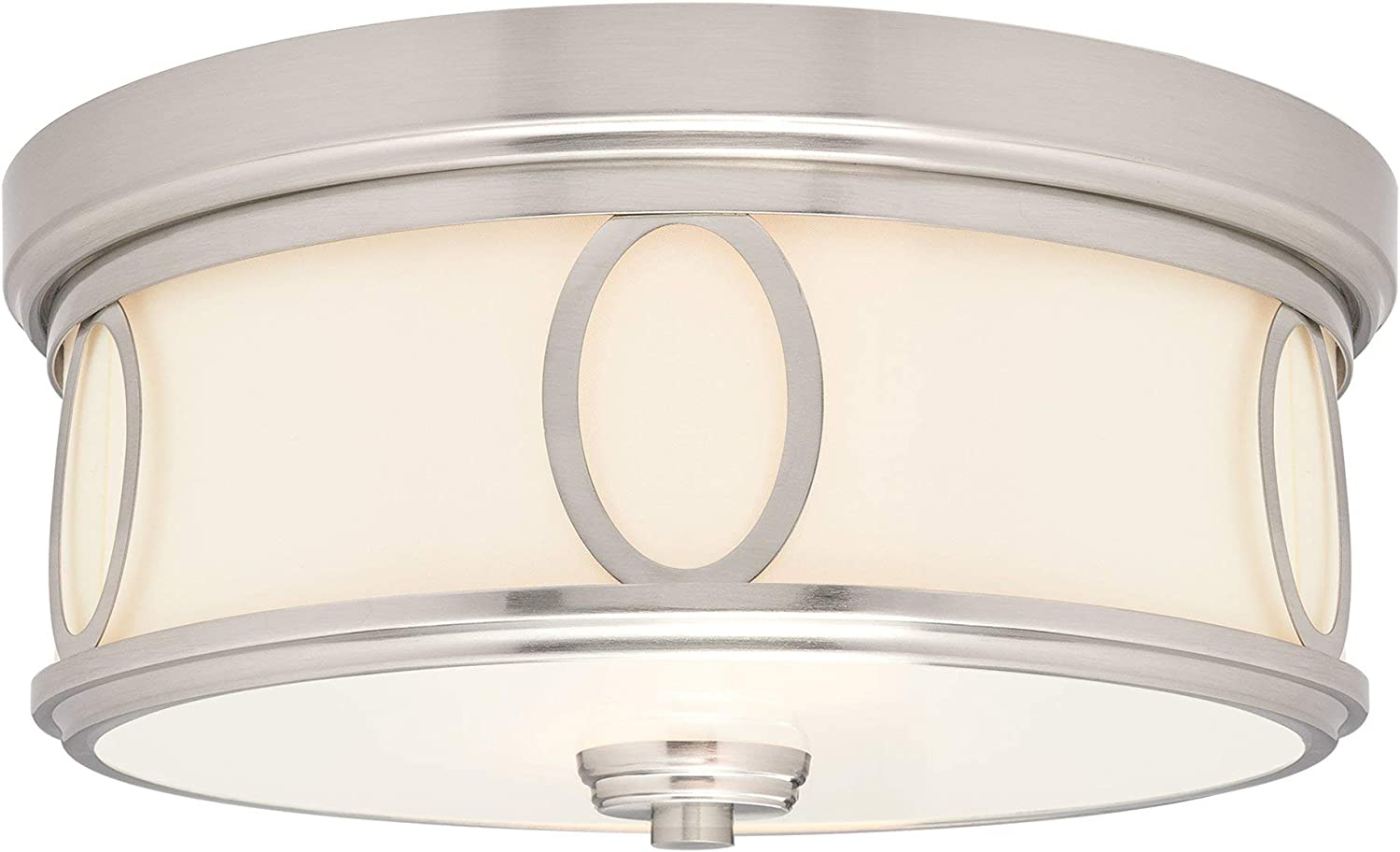 "Kira Home Simone 13.5"" Modern Round 2-Light Flush Mount Ceiling Light with Glass Diffuser, Brushed Nickel Finish"