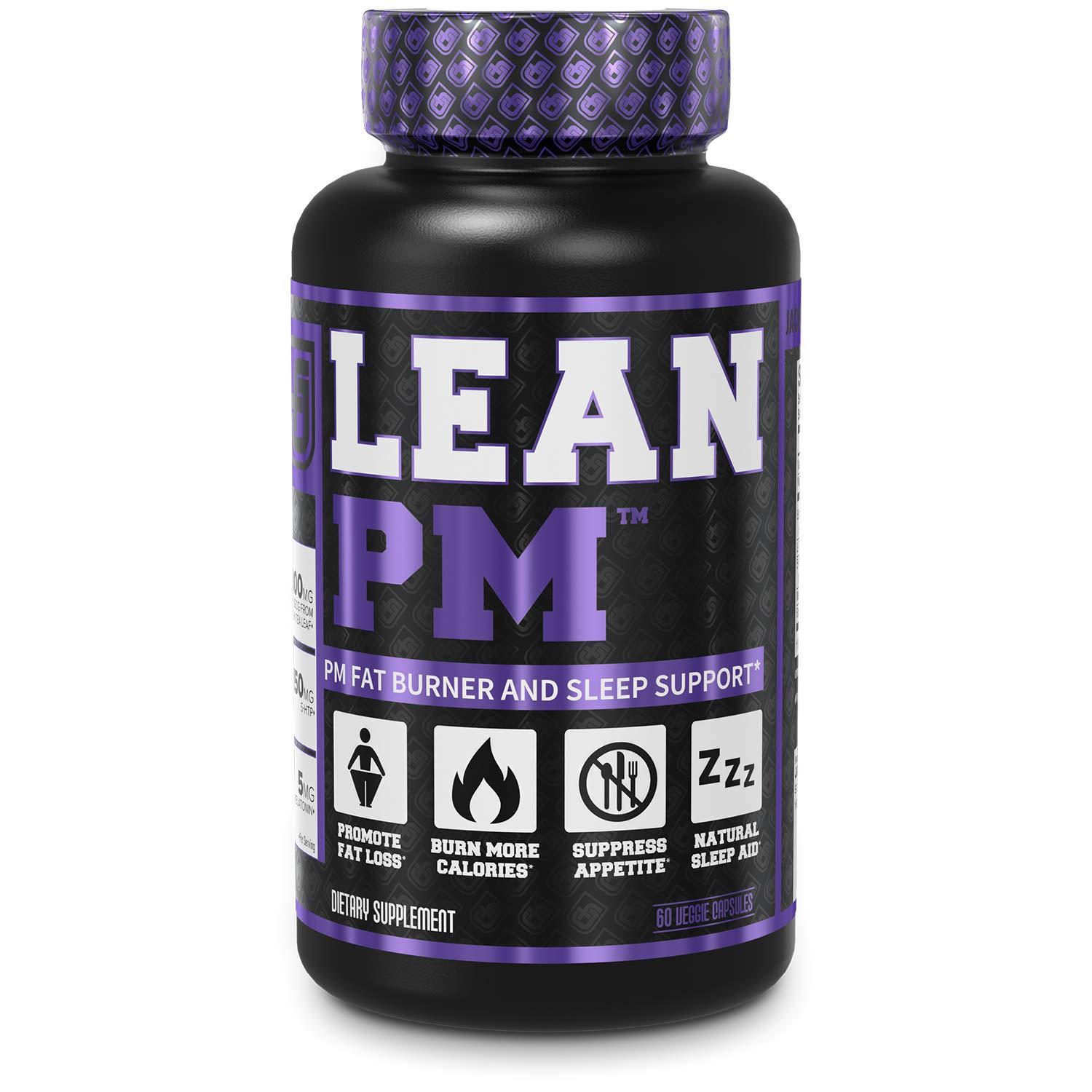 LEAN PM Night Time Fat Burner, Sleep Aid Supplement, & Appetite Suppressant for Men and Women - 60 Stimulant-Free Veggie Weight Loss Diet Pills by Jacked Factory