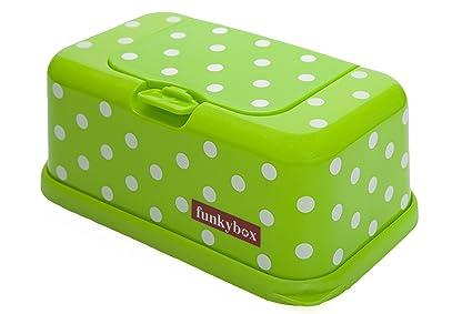 Funkybox - Cajita para toallitas húmedas - Verde con lunares blancos