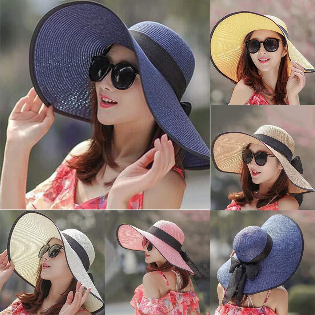 Sombrero de Paja para Mujer Visera Protector Solar Plegable Gorra ...