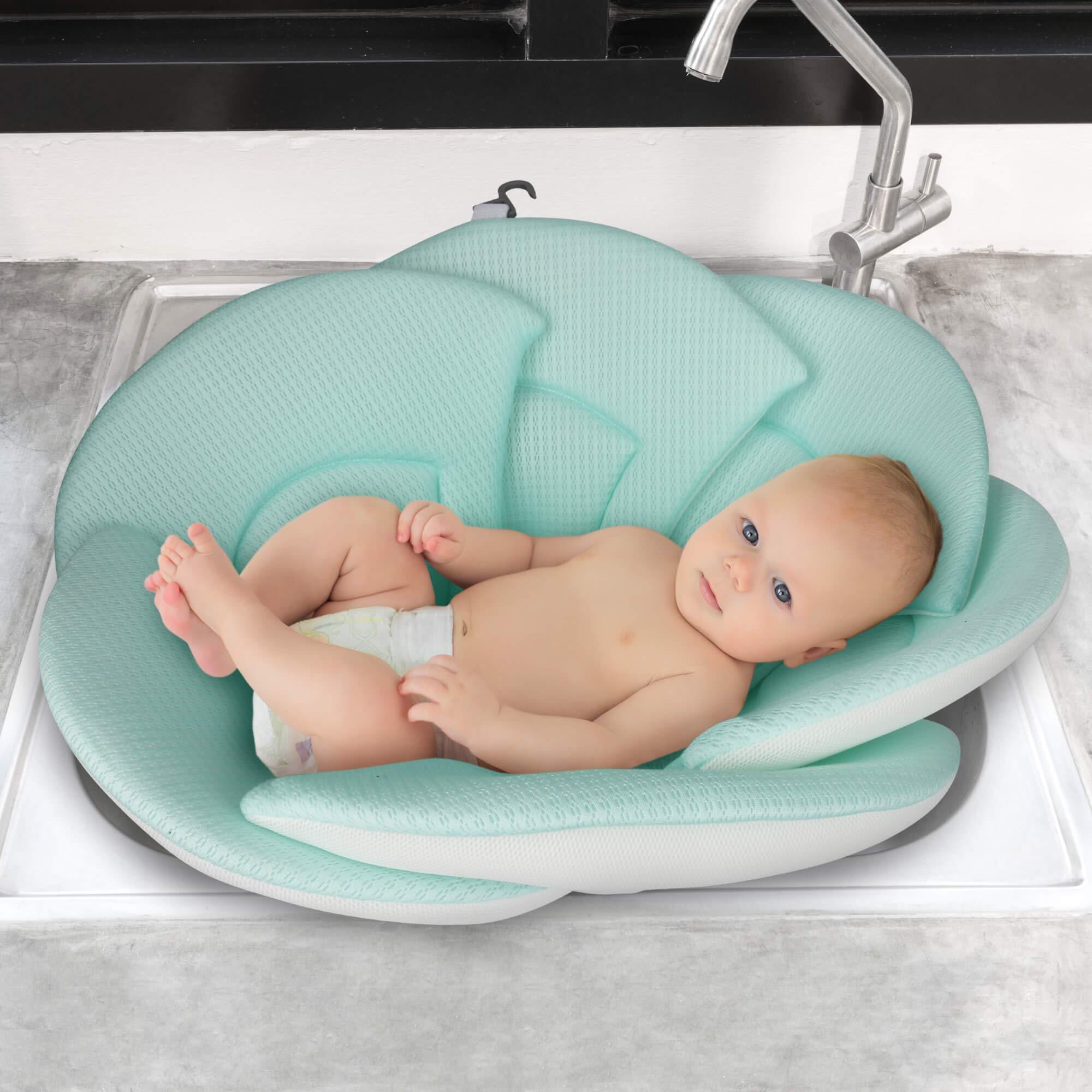 Organic Baby Bath Pillow - Konjac Sponge Included, Blooming Flower for Infant Bathing in Sink, Bathtub or Plastic Bather to Cushion Their Newborn Skin.