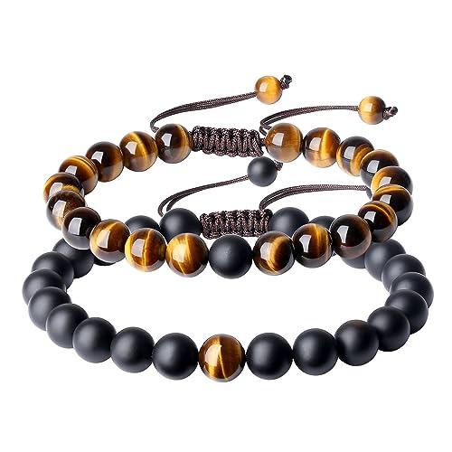 310d90e1ce COAI Reiki Healing Tiger Eye Onyx Stone Bracelets for Couples: Amazon.ca:  Jewelry