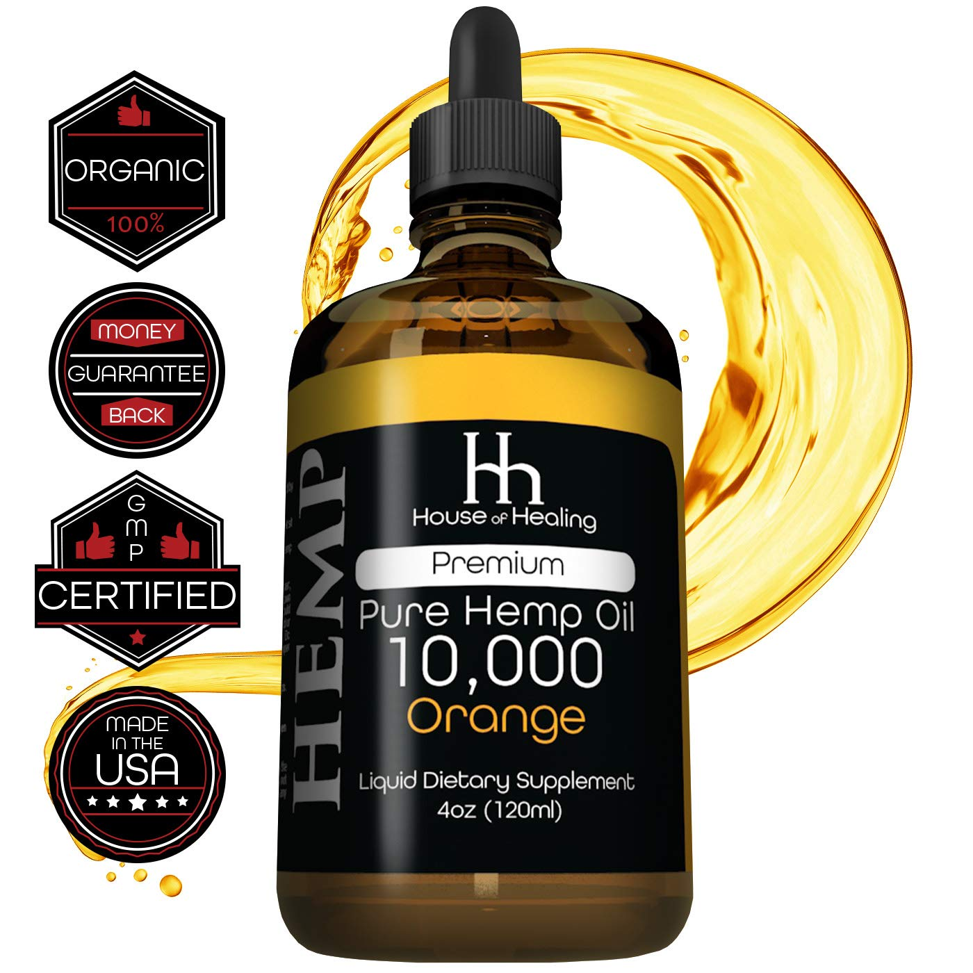 Hemp Oil for Pain Anxiety Relief :: Hemp 10,000 :: Hemp Seed Full Spectrum Extract :: May Help with Inflammation, Joints, Mood, Sleep & More! :: Zero THC CBD Cannabidiol :: Rich in Omega 3,6,9