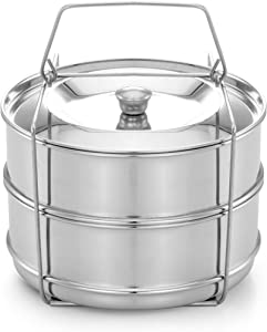 Expresso 3 Qt Mini Stackable Stainless Steel Pressure Cooker Steamer Insert Pans with sling handle - compatible with Instant Pot Accessories 3 quart - two interchangeable lids