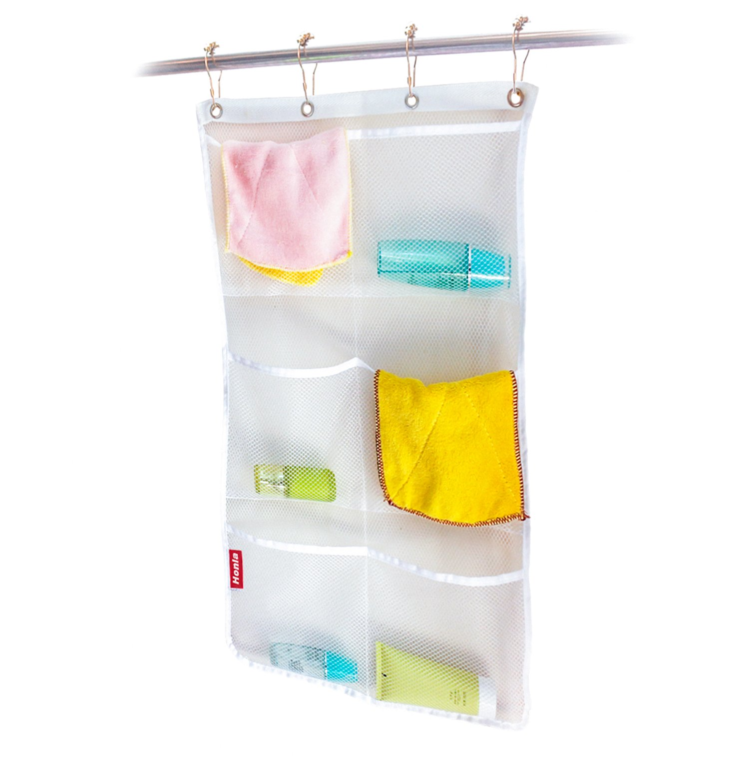Honla 2 Pack Hanging Mesh Bath Shower Caddy Organizer With 6 Clear Storage PocketsLarge Grommets Set Hang On Curtain Rod Liner Hooks For Bathroom