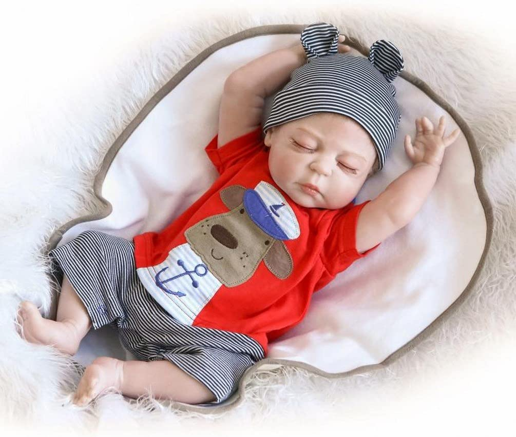 ZIYIUI Realista Muñeca Reborn bebé Niño 18 Pulgadas 45 cm Silicona Vinilo Ojos Cerrados Bebe Reborn Niño Juguetes Hecha a Mano Regalo de Cumpleaños para