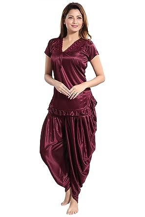 2e388d726e Romaisa Women Satin Night Suit Top with Patiyala (Alice Brown