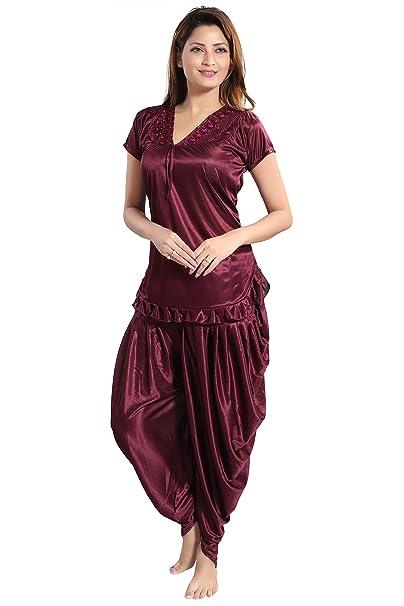 7ca91a59cab Romaisa Women s Satin Top with Patiyala Night Suit (PTS147-424 ...