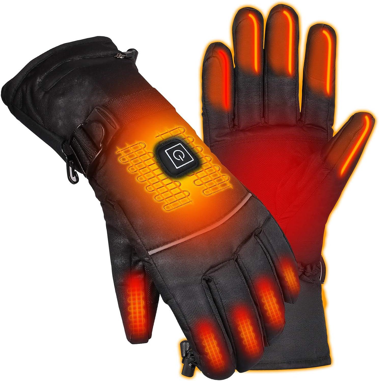 Qdreclod Guantes Calefactables con Batería Recargable, 3 Temperaturas Ajustables, Hombre Mujer Invierno Guantes Moto Calefactables, Ideal para Esquí Senderismo Equitación