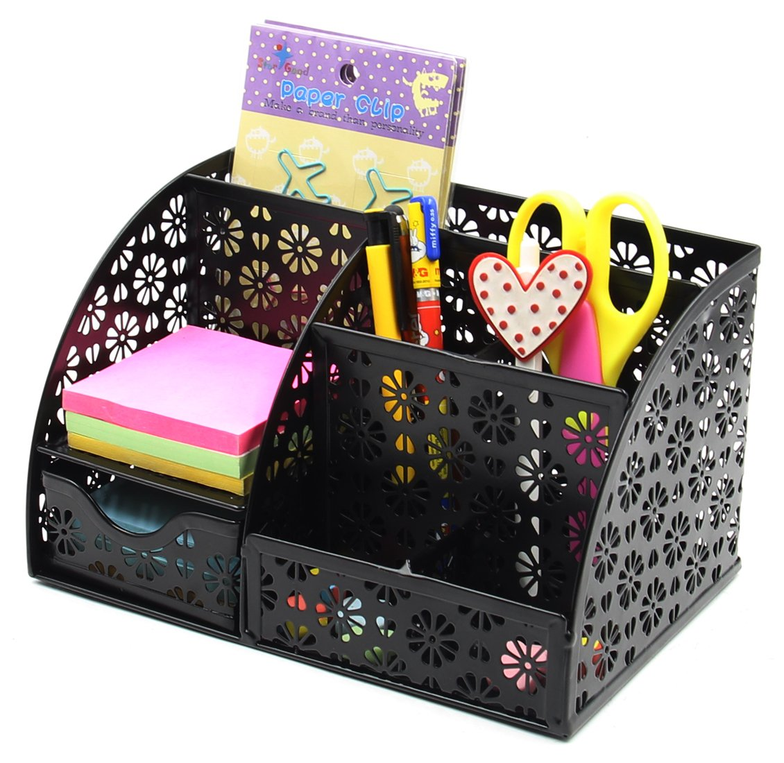 EasyPAG Office Desk Organizer with Drawer Solid Metal Snow Shaped Pattern Design,Black by EasyPag (Image #4)