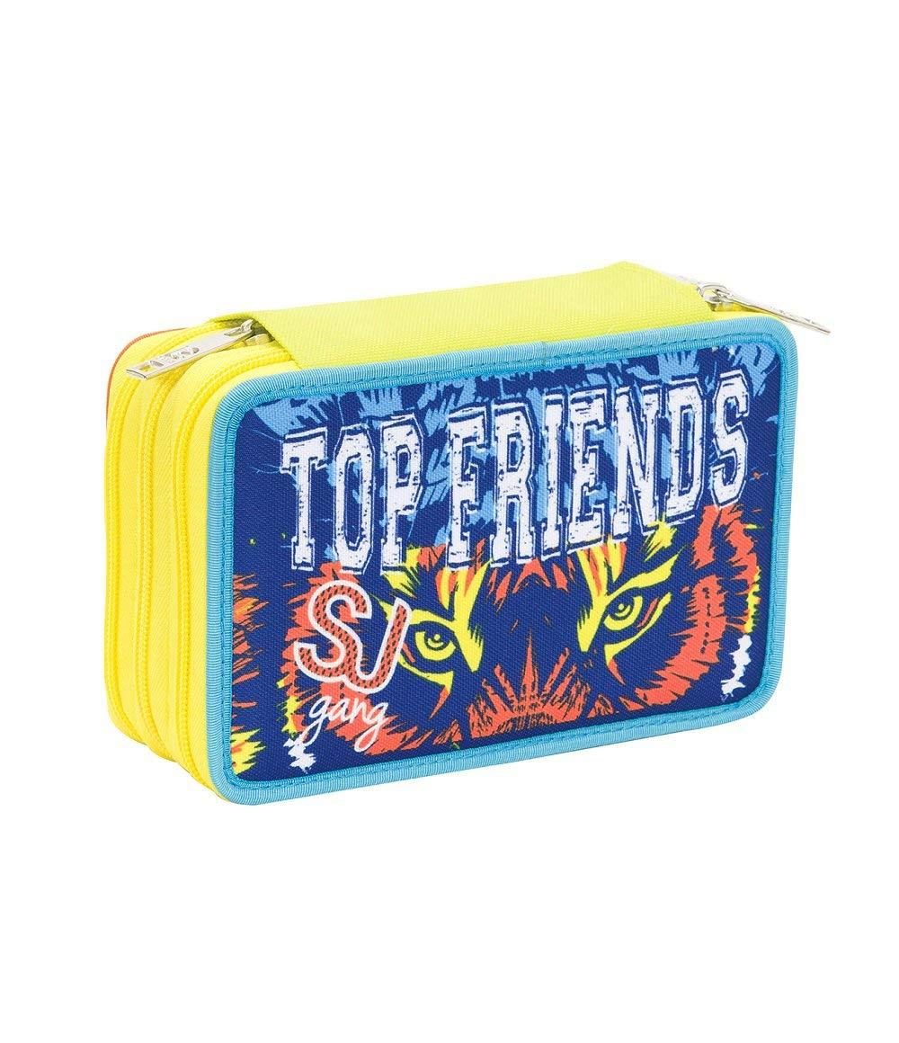 Blu Giallo SJ TOP FRIENDS ASTUCCIO Scuola SEVEN pennarelli matite gomma ecc. 3 scomparti