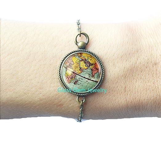 Amazon world map globe bracelet earth bracelet globe bracelet world map globe bracelet earth bracelet globe bracelet map jewelry charming globe gumiabroncs Choice Image