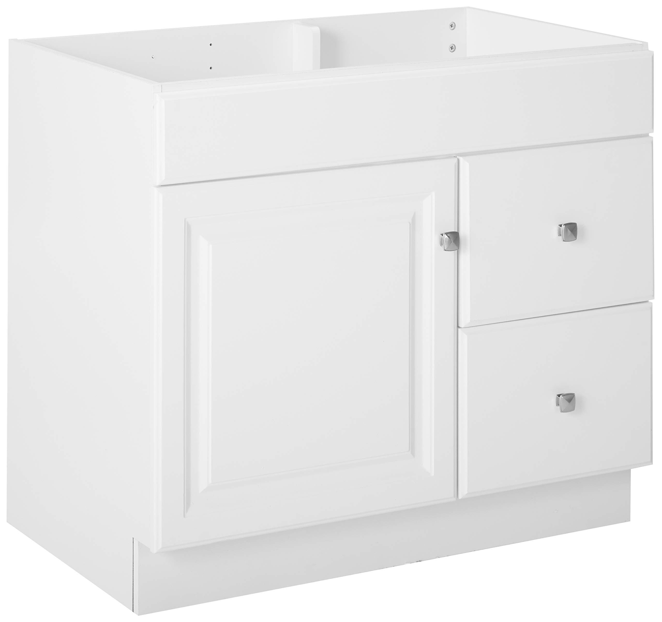 """Design House 531954 Wyndham Ready-To-Assemble 1 Door/2 Drawer Vanity, White, 36""""W x 31.5""""T 21""""D, Cabinet Only - Cabinet only. Top sold separate. 2-drawer construction gives you plenty of storage for toiletries Measures 36-inches wide by 31.5-inches tall by 21-inches deep - bathroom-vanities, bathroom-fixtures-hardware, bathroom - 71BBUmZHyPL -"""