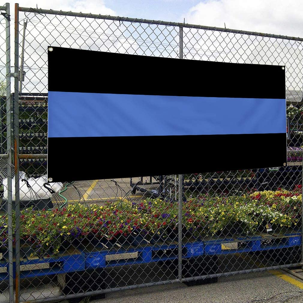 Vinyl Banner Multiple Sizes Black and Blue Business C Business Outdoor Weatherproof Industrial Yard Signs Black 8 Grommets 48x96Inches