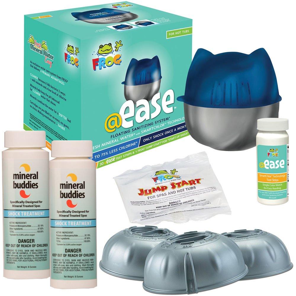 FROG @ease Floating Sanitizing System & FROG @ease SmartChlor Cartridge 3pk plus Free Mineral Buddies Shock Treatment by @ease