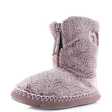 Womens Bedroom Athletics Ellie Aquarelle Sherpa Fleece Slipper Boots Size