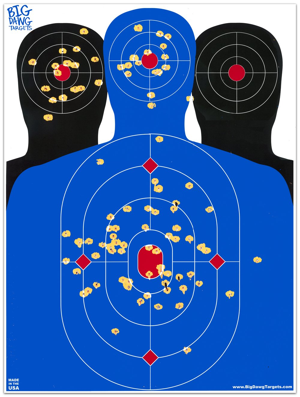 Big Dawg Targets - 18 X 24 Inch Triple Silhouette Reactive Splatter Target - 10 Pack