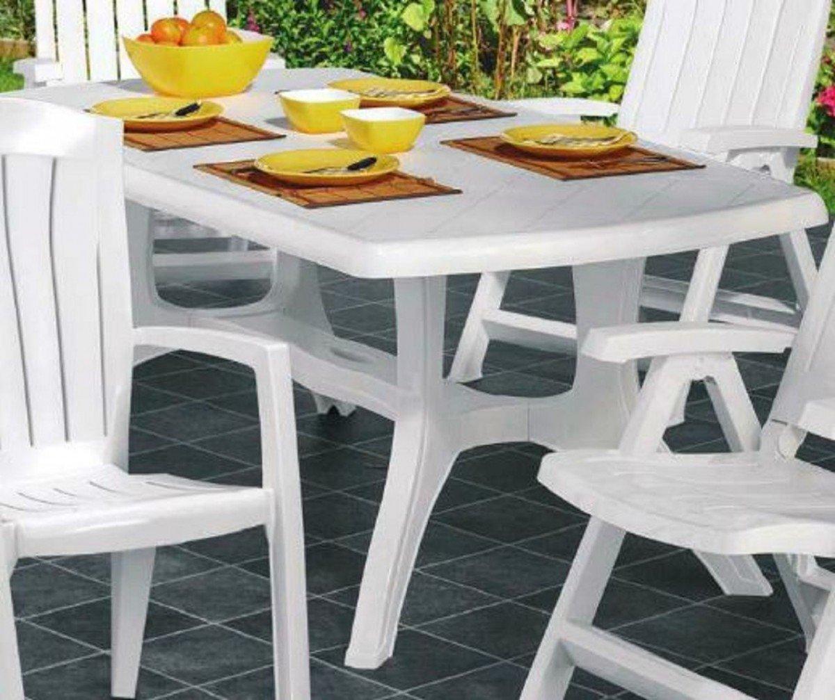 Dreams4Home Gartentisch 'Santos' - Tisch, Balkontisch, Terrassentisch, 187 x 103 cm, Kunststoff, witterungsbeständig, Boulevardgestell, mit Höhenausgleich, Balkonmöbel, Gartenmöbel, Terrasse, Outdoor, in weiß