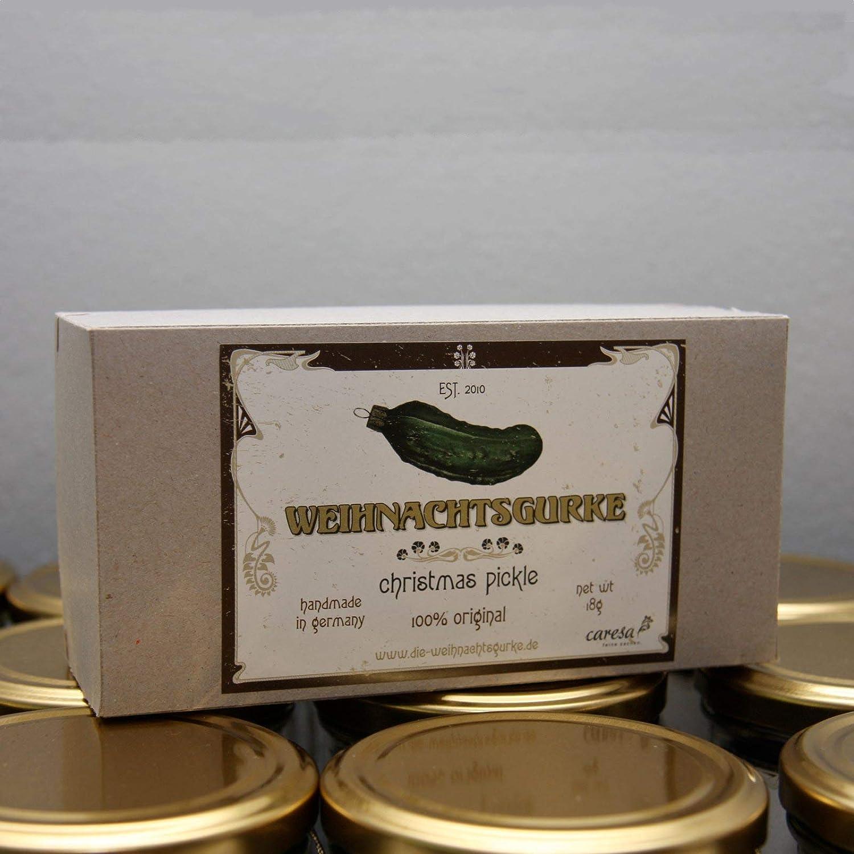 fabriqu/é en Allemagne caresa feine sachen Original de No/ël Concombre/ /Christmas Pickle Verre Souffl/é /à la Bouche et Peint /à la Main 10/cm