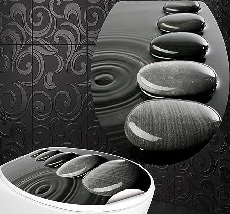 2/adesivi per piastrelle StickerProfis Sedile WC adesivi Zen Pietre design Schermo parete per WC stanza incl