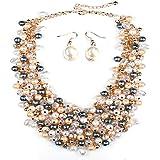 Houda Europa Fashion Trendy lujo Tejido False cuello joyas encanto Classic refinamiento Bling perlas gargantilla declaración collar para las mujeres