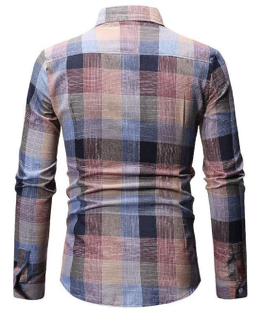CYJ-shiba Mens Long Sleeve Leisure Shirt Plaid Custom Fit Button Down Shirts