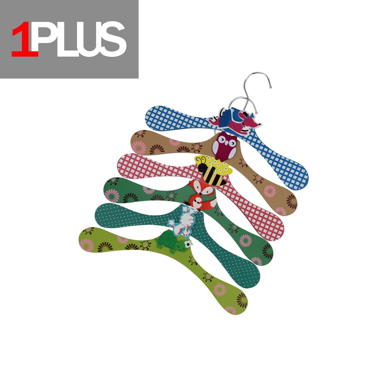 Perchas infantiles 1Plus de alta calidad, en práctico conjunto de 6perchas, de madera, con diseños de animales Tiere (schmal)