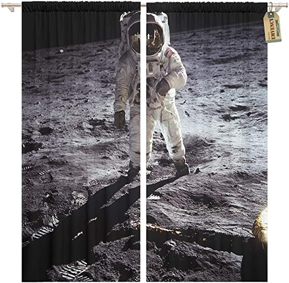 Golee Window Curtain Astronaut Landing on Moon Spacewalk of This Furnished Home Decor Pocket Drapes 2 Panels Curtain 104 x 96 inches