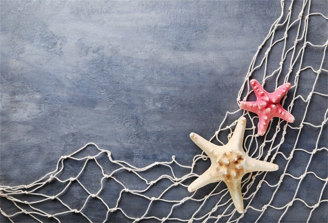 CSFOTO 5x3ft Background for Fishing Nets Starfish on Grunge Cement Wall Photography Backdrop Sea Concept Marine Themed Birthday Party Child Kid Adult Portrait Photo Studio Props Polyester Wallpaper by CSFOTO (Image #1)