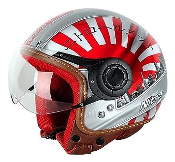 Nitro Japan Casco Moto, Blanco/Rojo/Negro, M