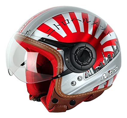 Nitro Japan Casco Moto, Blanco/Rojo/Negro, M: Amazon.es ...