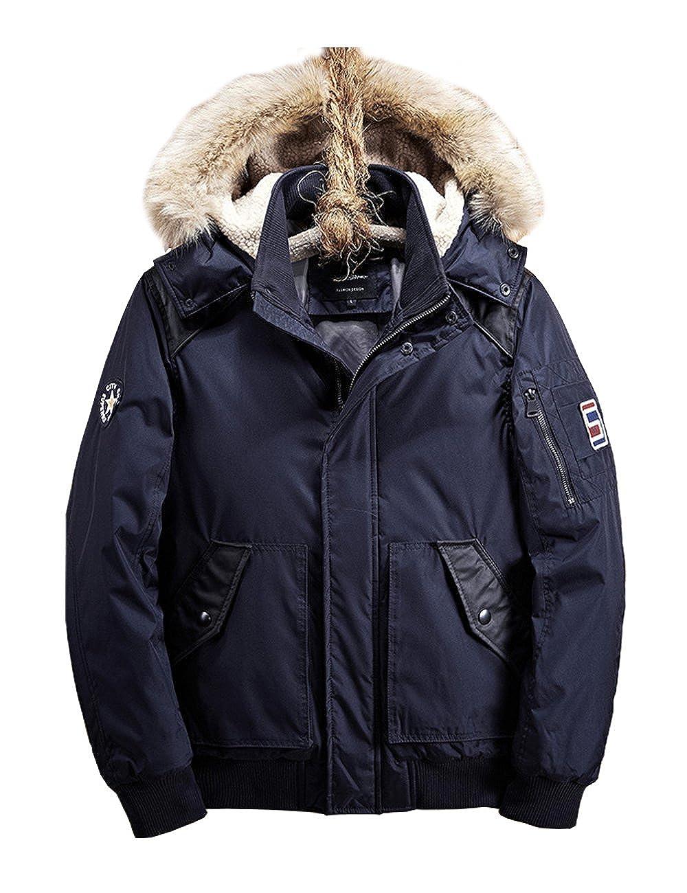 CUKKE Mens Down Zipper Jacket Detahable Fur Hooded Winter Jacket Windbreak Heavy Coat Wuxi Shuailande Trade Co. Ltd. CK-DSWP-2530