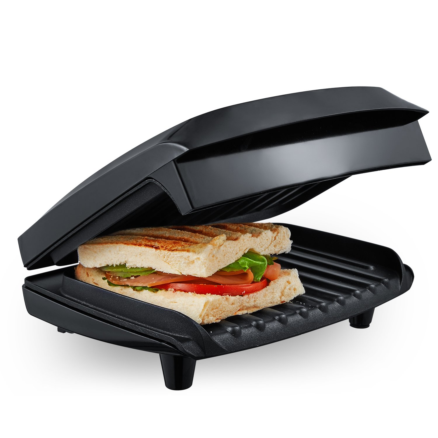 Aicok Panini Press 1000W Fast Cooking Non-Stick Sandwich Maker, 2-Serving Compact Indoor Grill with Drip Tray, Black by AICOK (Image #5)