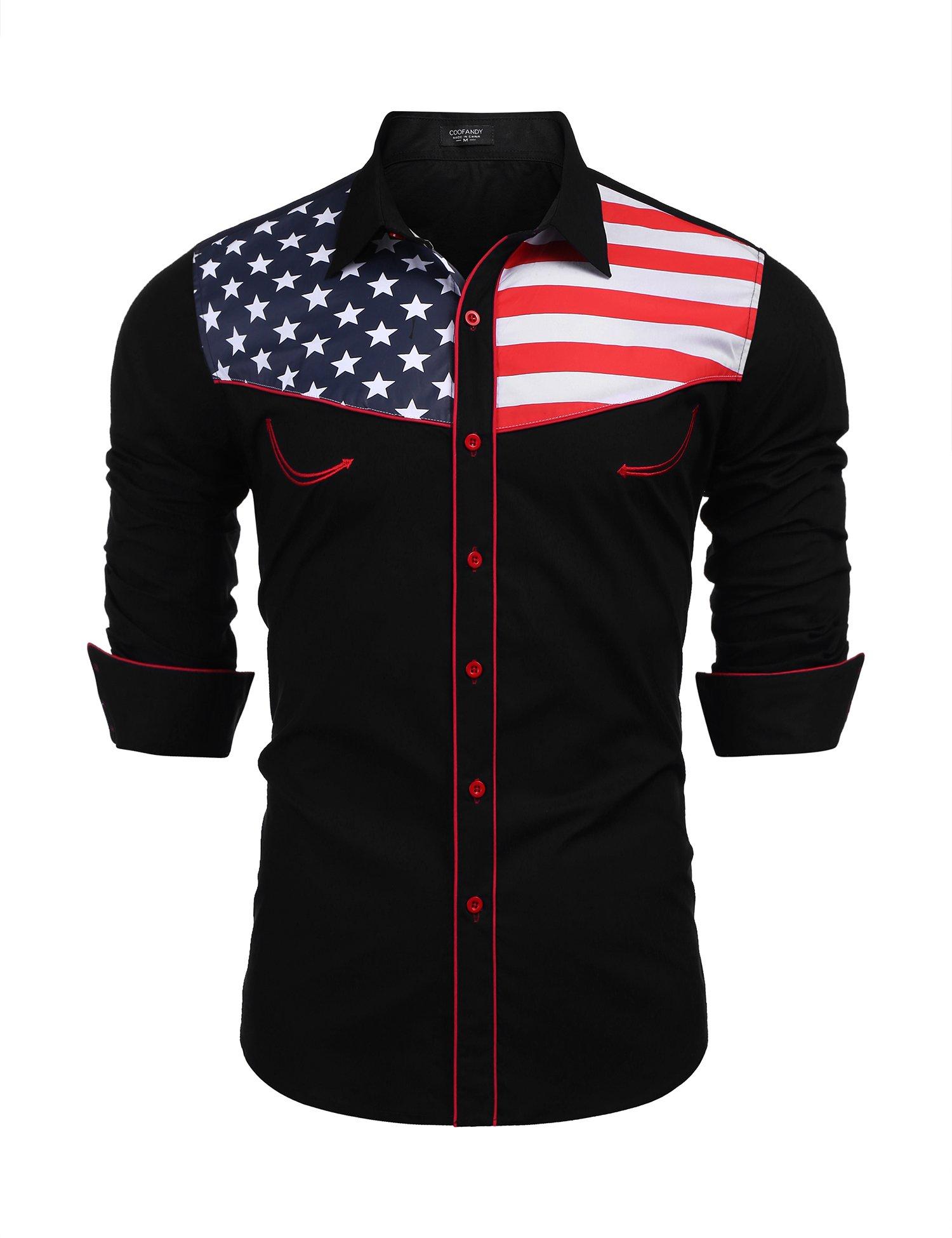 b97681b2a1d8 COOFANDY Men s Casual American Flag Button Down Shirts Slim Fit Long Sleeve  Shirt