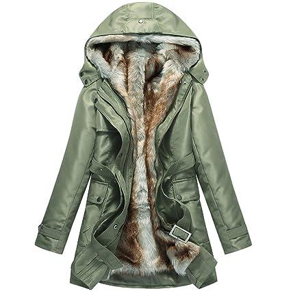 16623c18a Hee grand Women Winter Faux Fur Coat Winter Coats for Women Warm Parka  Jackets for Women Hood Jacket