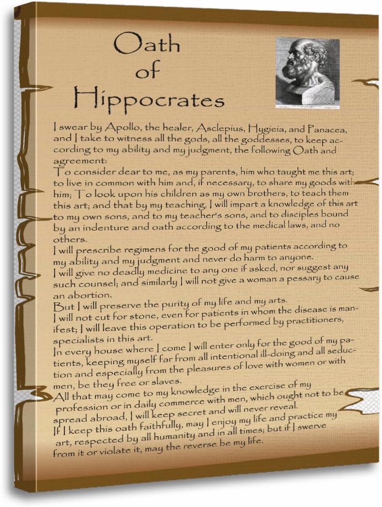 Amazon.com: TORASS Canvas Wall Art Print Doctor Hippocratic Oath ...