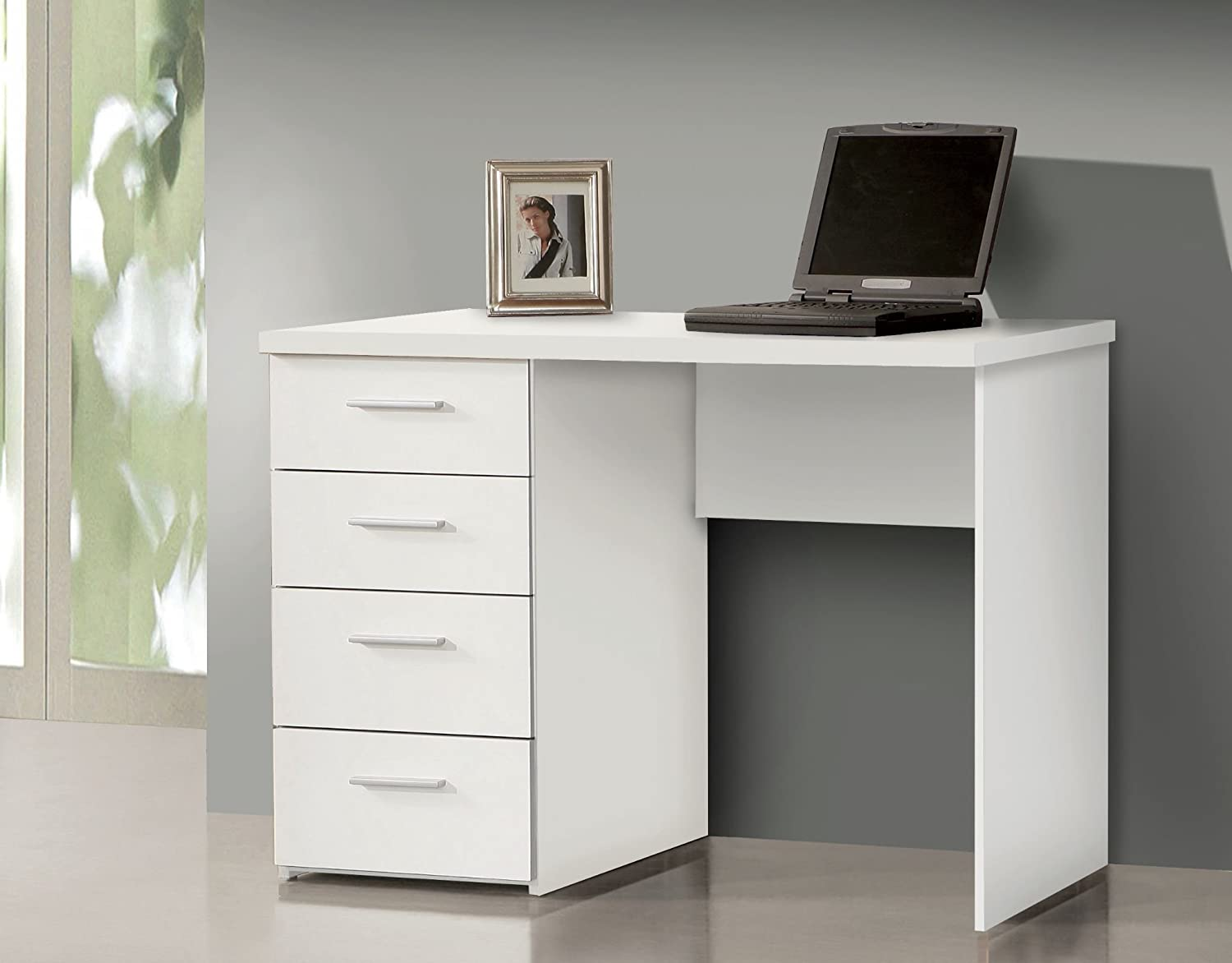 Madrid White Gloss Computer Desk Office Table Study Workstation