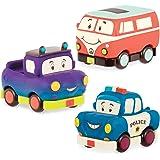 B. toys by Battat BX1909Z Mini Pull-Back Vehicles Set, Multi, 3Pc Truck, Camper Van, Police