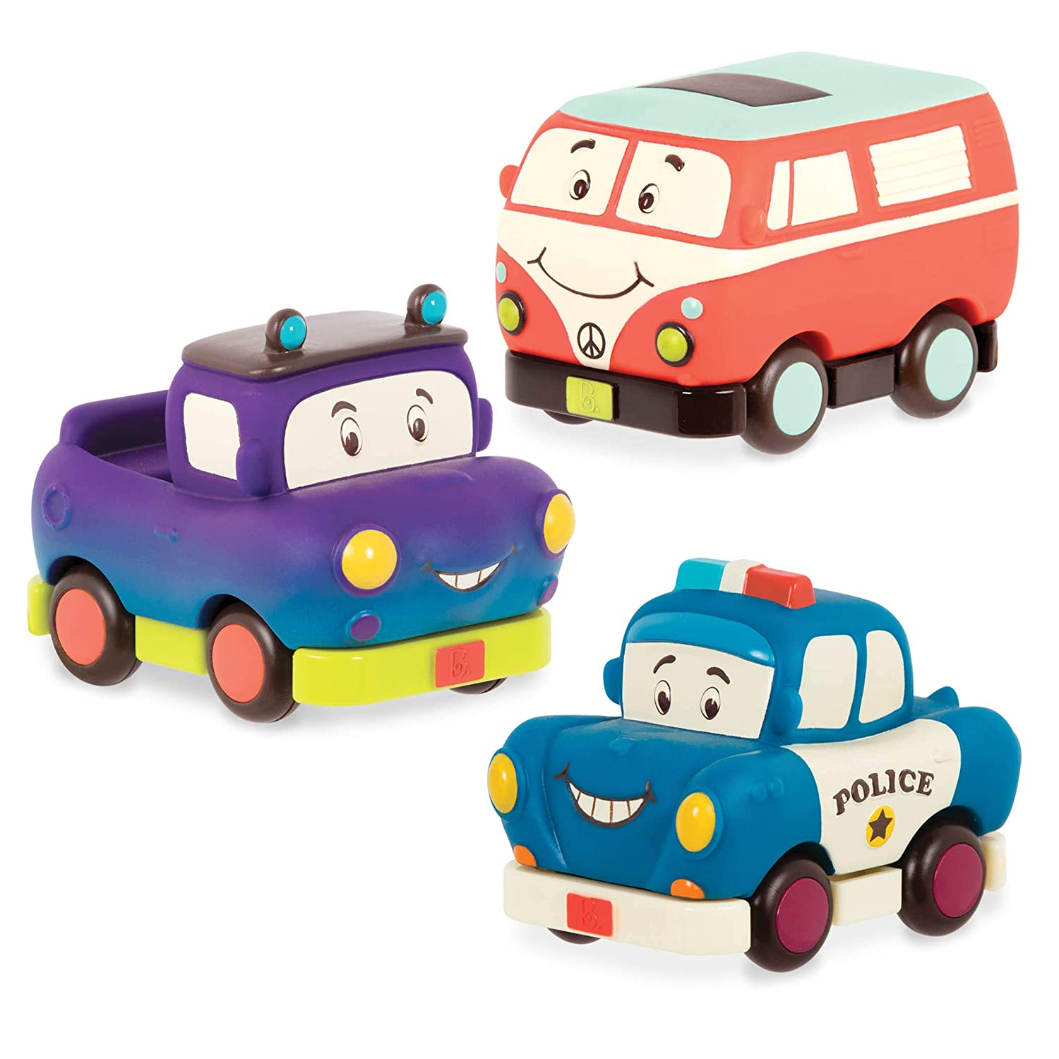 B Toys Set of 3 Pull-Back Toy Cars for Kids 1 Year + Mini-Wheeeels 3-Mini Toy Vehicles Cars Set 3-Pcs