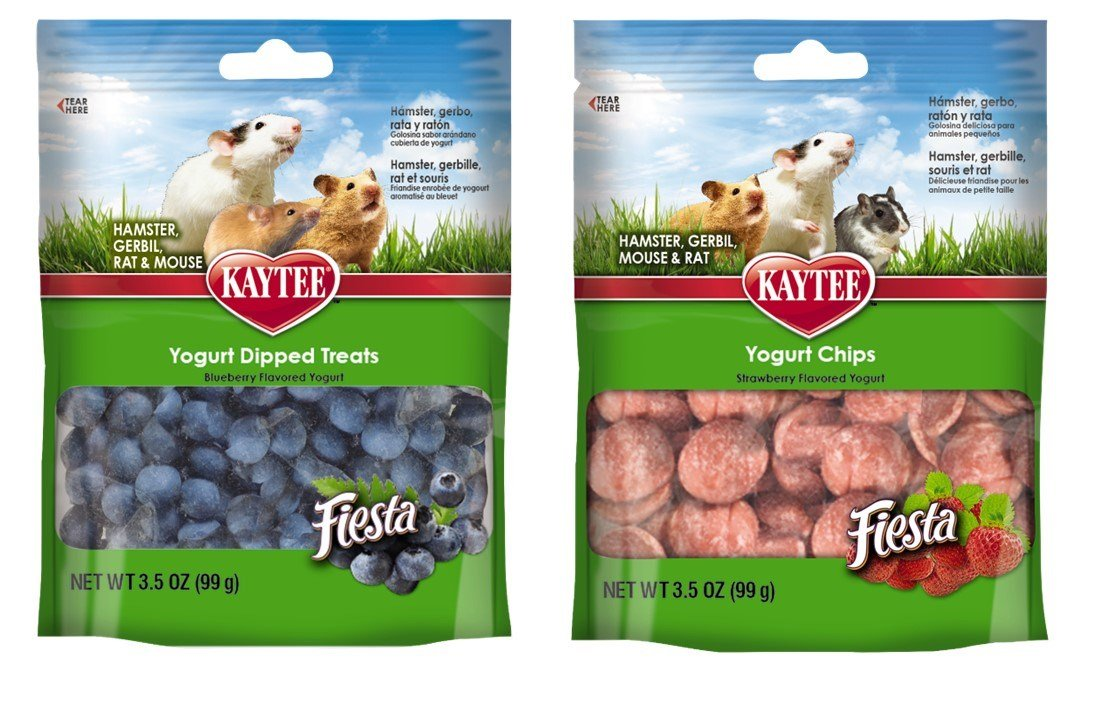 Kaytee Small Animal Treats 2 Flavor Variety Bundle (1) Each: Blueberry Flavored Yogurt Dipped Treats, Strawberry Flavored Yogurt Chips, 3.5 Ounces Each Kaytee Products