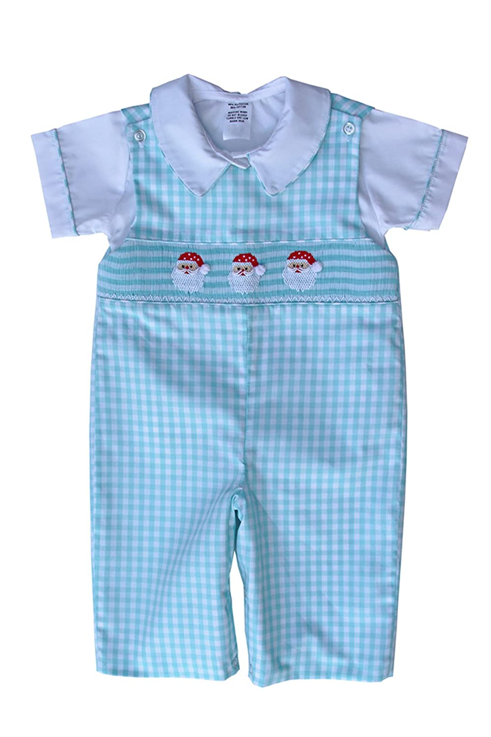 Boys Hand Smocked Santa Christmas Longall with Shirt Overalls