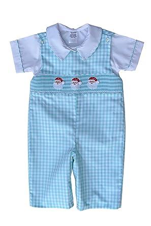 b3468ae47 Amazon.com: Boys Hand Smocked Santa Christmas Longall with Shirt Overalls:  Clothing