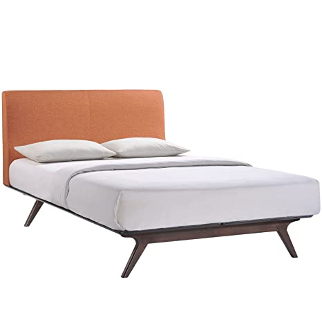 Modway Tracy Mid-Century Modern Wood Platform Queen Size Bed in Cappuccino  Orange