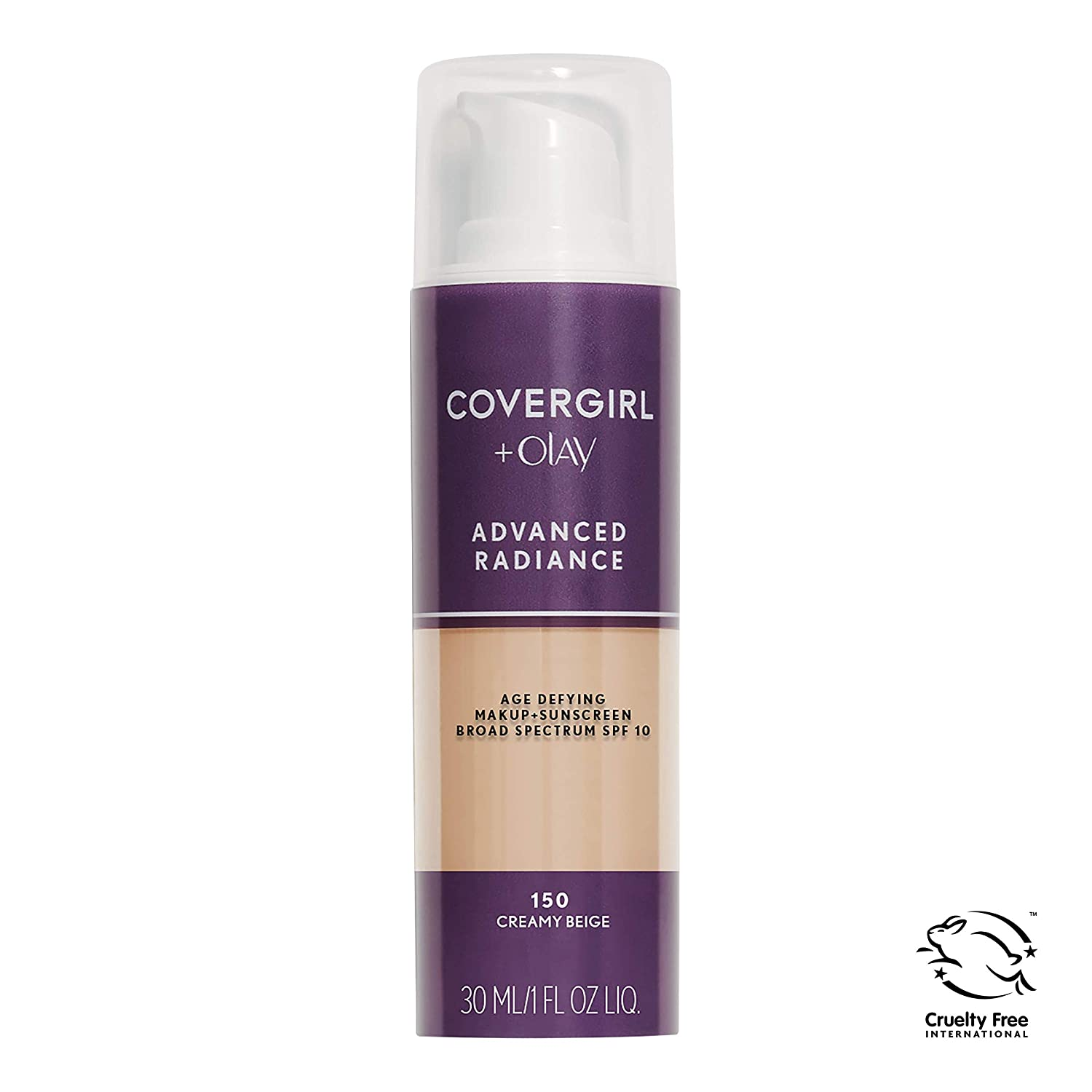 COVERGIRL Advanced Radiance Age Defying Foundation Makeup Creamy Beige, 1 oz